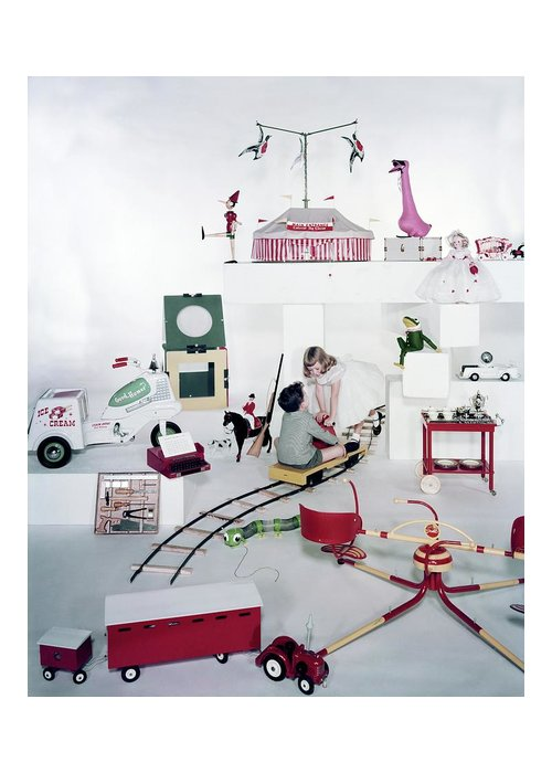 Studio Shot Greeting Card featuring the photograph Two Children Playing With Vintage Toys by Bruce Knight
