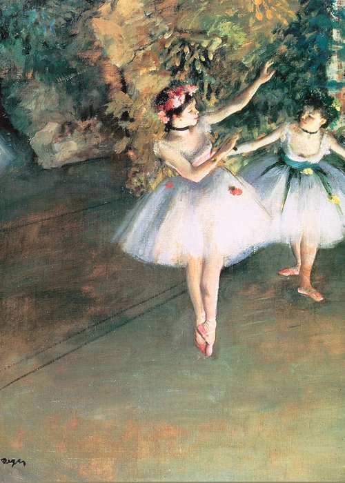 Two Dancers On A Stage Greeting Card featuring the painting Two Dancers On A Stage by Edgar Degas