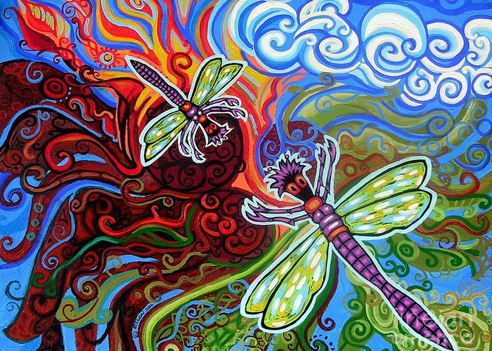 Dragonfly Greeting Card featuring the painting Two Dragonflies by Genevieve Esson