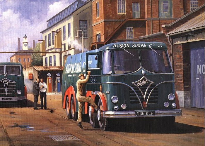Foden Greeting Card featuring the painting Two Fodens by Mike Jeffries