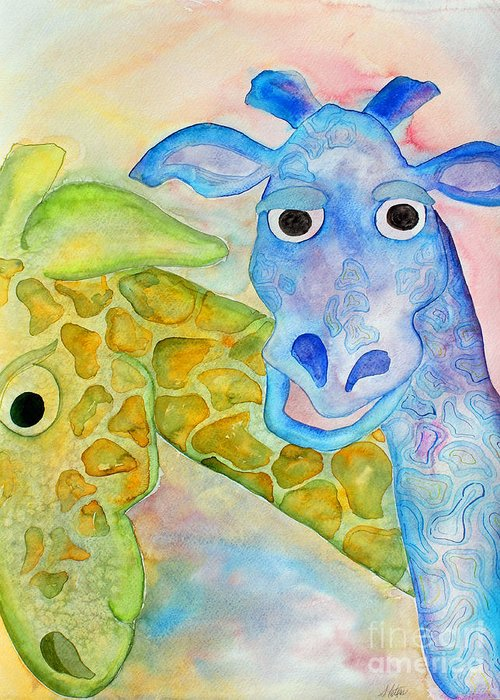 Watercolor Greeting Card featuring the painting Two Giraffes by Shannan Peters