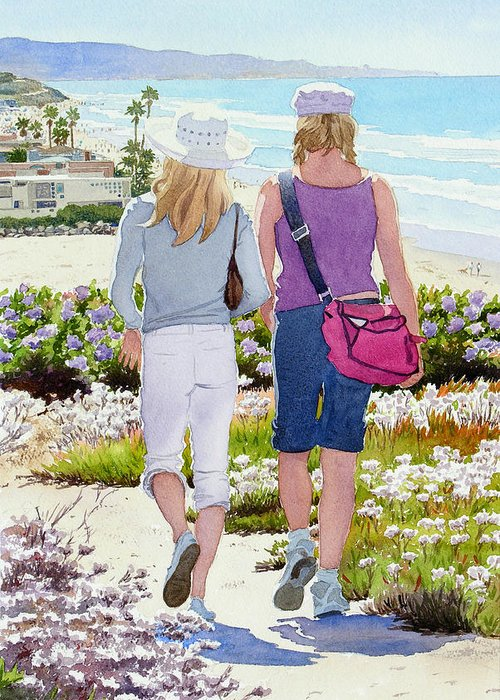 Landscape Greeting Card featuring the painting Two Girls At Dog Beach Del Mar by Mary Helmreich