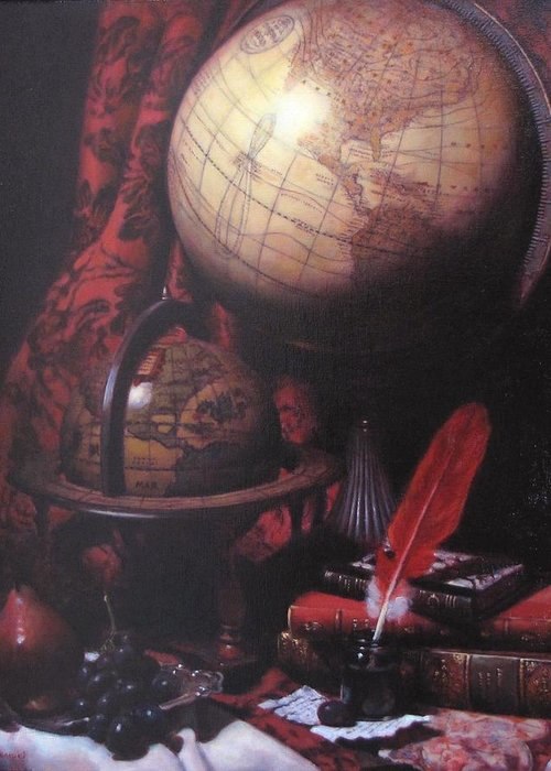 Still Life Greeting Card featuring the painting Two Globes by Takayuki Harada