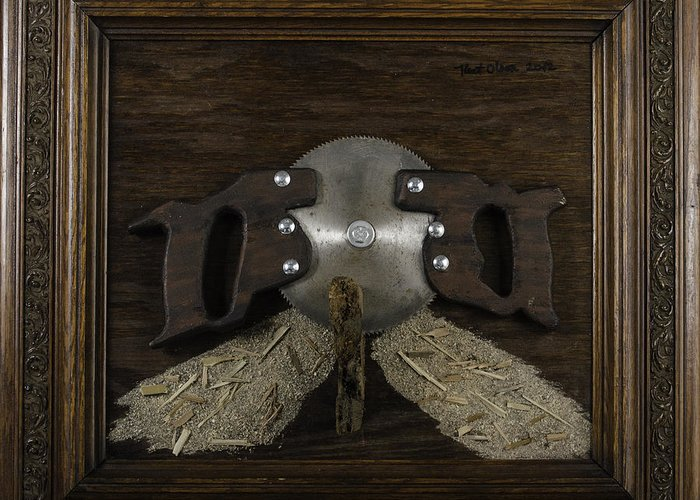 Folk Greeting Card featuring the painting Two Handled Saw Blade by Kurt Olson