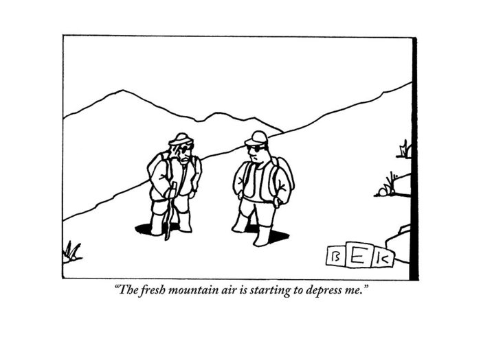 Fresh Air Greeting Card featuring the drawing Two Hikers Are Talking To Each Other Outdoors by Bruce Eric Kaplan