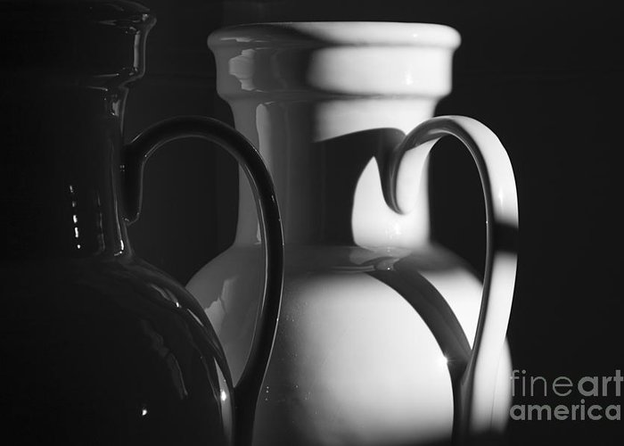 Urns Greeting Card featuring the photograph Two In Black And White by Terry Rowe