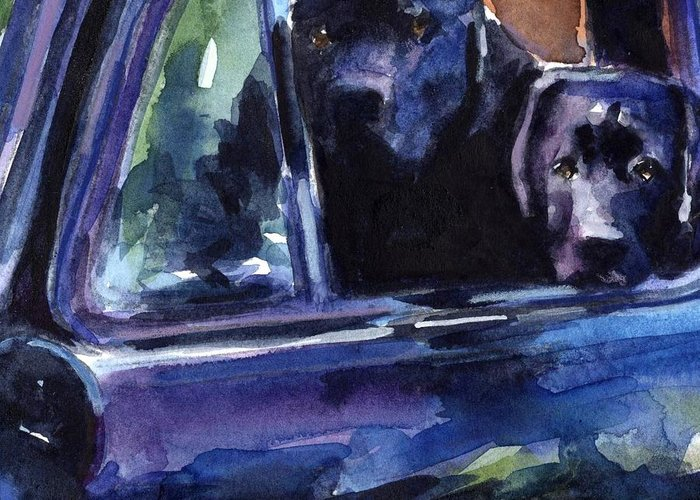 Black Labrador Greeting Card featuring the painting Two Into Fifty One by Molly Poole