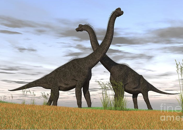 Animal Greeting Card featuring the photograph Two Large Brachiosaurus In Prehistoric by Kostyantyn Ivanyshen