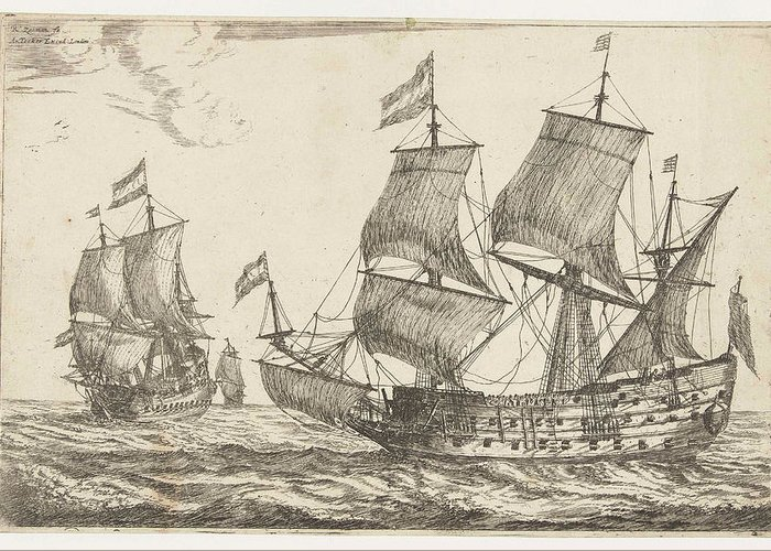Sailing-ship Greeting Card featuring the drawing Two Large Warships, Reinier Nooms by Reinier Nooms