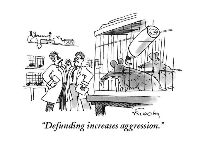 Mice Greeting Card featuring the drawing Two Mice In A Cage Watch Two Scientists Argue by Mike Twohy
