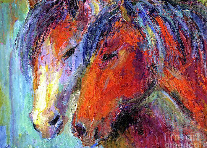 Mustang Horse Prints Greeting Card featuring the painting Two Mustang Horses Painting by Svetlana Novikova