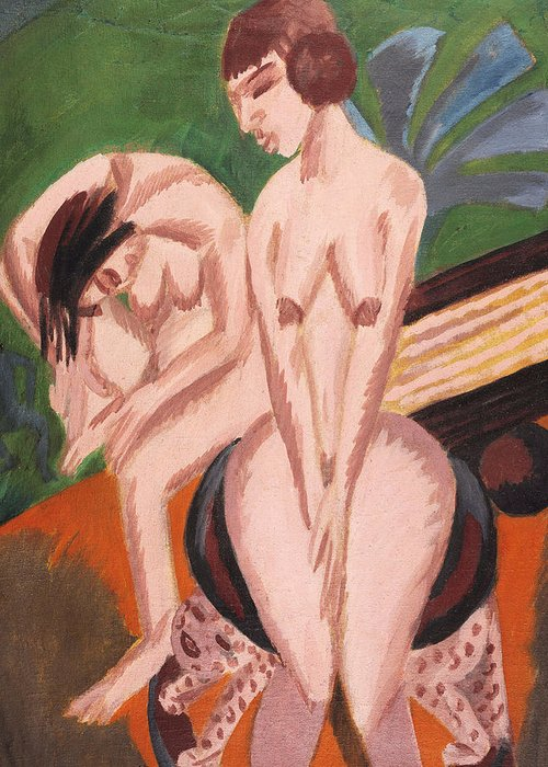 1910s Greeting Card featuring the painting Two Nudes In The Room by Ernst Ludwig Kirchner