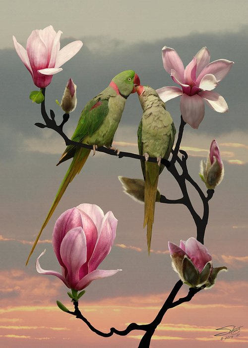 Alexandrine Parakeet Greeting Card featuring the painting Two Parrots In Magnolia Tree by M Spadecaller