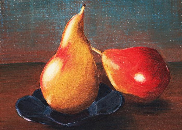 Interior Greeting Card featuring the painting Two Pears by Anastasiya Malakhova