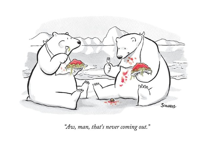 Polar Bears Greeting Card featuring the drawing Two Polar Bears Eat Spaghetti And Meatballs. One by Benjamin Schwartz
