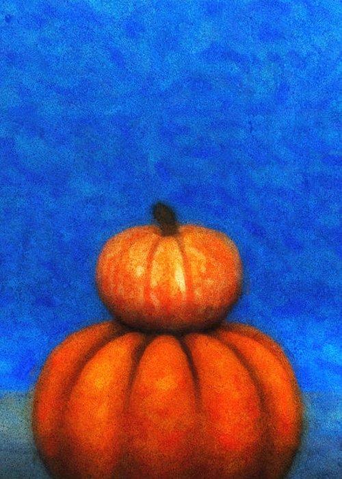 3d Greeting Card featuring the digital art Two Pumpkins by Jutta Maria Pusl