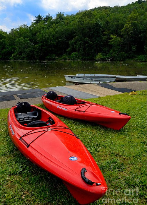 2 Seat Greeting Card featuring the photograph Two Red Kayaks by Amy Cicconi