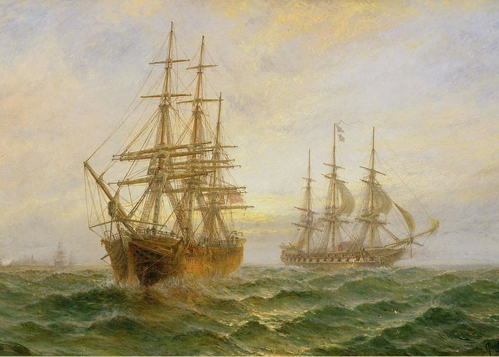 Ghost Ship Greeting Card featuring the painting Two Ships Passing At Sunset by Claude T Stanfield Moore