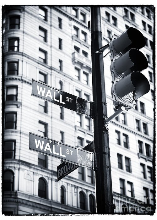 New York City Greeting Card featuring the photograph Two Times Wall St. by John Rizzuto