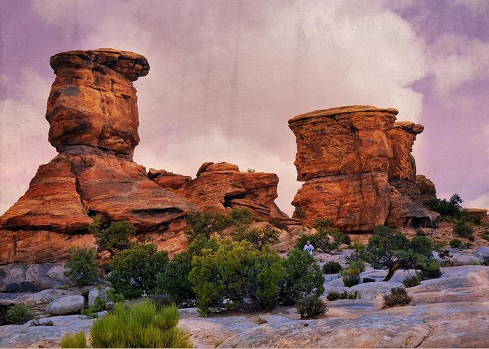 Canyonlands National Park Greeting Card featuring the photograph Two Towers by Marty Koch