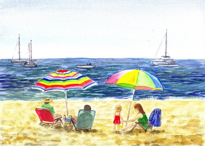 California Greeting Card featuring the painting Two Umbrellas On The Beach California by Irina Sztukowski
