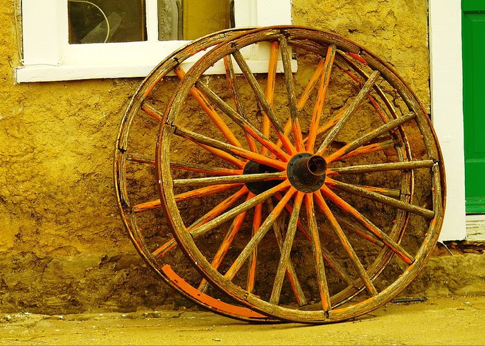 Wheels Greeting Card featuring the photograph Two Wagon Wheels by Jeff Swan
