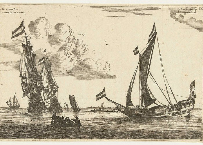 Sailing-ship Greeting Card featuring the drawing Two Warships And A Yacht, Reinier Nooms by Reinier Nooms