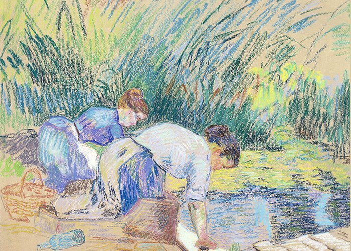 Washerwoman Greeting Card featuring the pastel Two Washerwomen by Jean Baptiste Armand Guillaumin