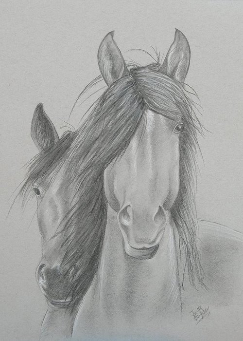 Charcoal Drawing Greeting Card featuring the painting Two Wild Horses by Joette Snyder