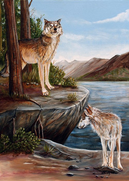 Wolves Greeting Card featuring the painting Two Wolves by Dorothy Riley