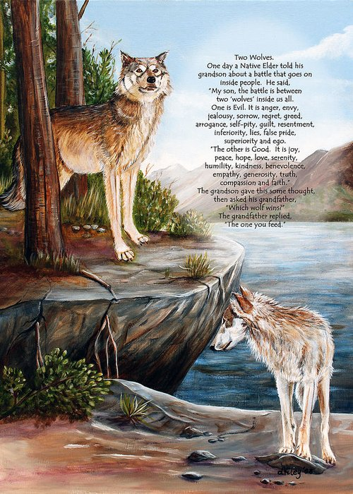 Landscape Greeting Card featuring the painting Two Wolves- Poster by Dorothy Riley