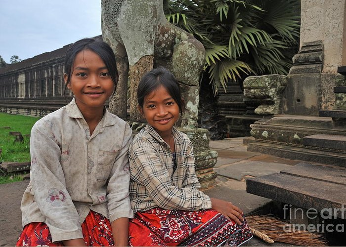 Children Greeting Card featuring the photograph Two Young Cambodian Girls In Angkor Wat by Sami Sarkis