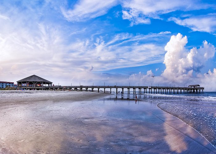 Tybee Island Pier Greeting Card featuring the photograph Tybee Island Pier On A Beautiful Afternoon by Mark E Tisdale