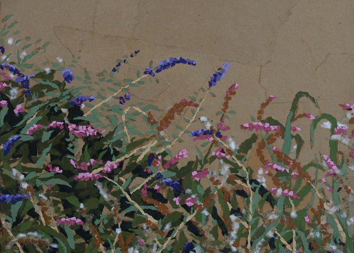 Flowering Butterfly Bush Greeting Card featuring the painting Tyler by Leah Tomaino