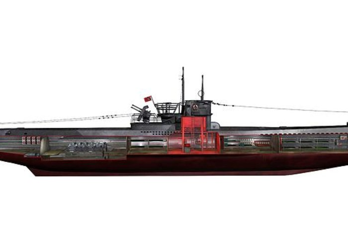 Type Viic/42 Greeting Card featuring the photograph Type Viic42 U-boat, Artwork by Science Photo Library