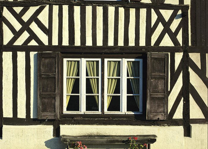 Architecture Building Buildings Day Daylight Daytime During Europe European Exterior Exteriors Facade Facades Fachwerk Fachwerk Frame Framed Framework France French Front Fronts Half Half-timbered House Houses In Mock Nobody Normandy Outdoor Photo Photos Shot Shots The Timber Timber-frame Timber-framed Timbered Tudor Tudorbethan Typical Greeting Card featuring the photograph Typical House Half-timbered In Normandy. France. Europe by Bernard Jaubert