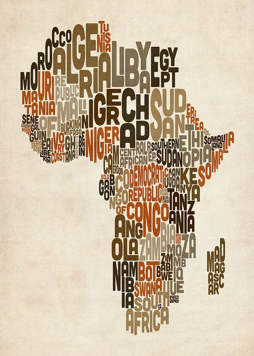 Africa Map Greeting Card featuring the digital art Typography Text Map Of Africa by Michael Tompsett