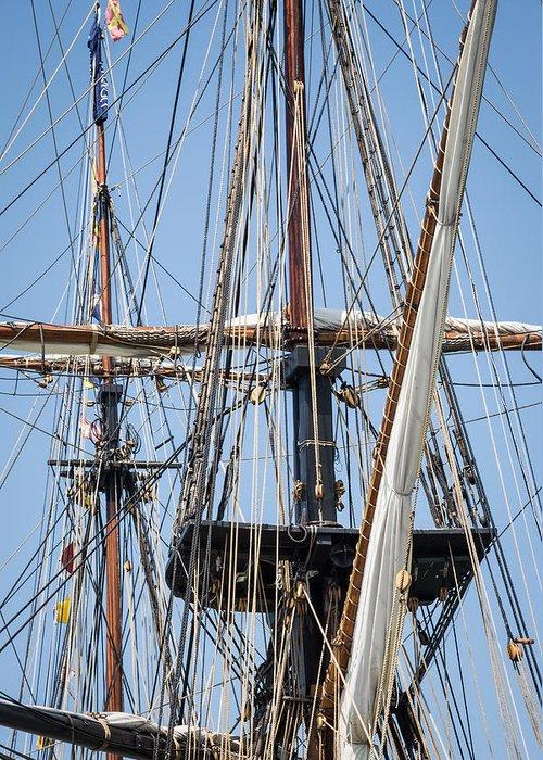 Tall Ship Rigging Greeting Card featuring the photograph U. S. Brig Niagara Rigging by Dale Kincaid