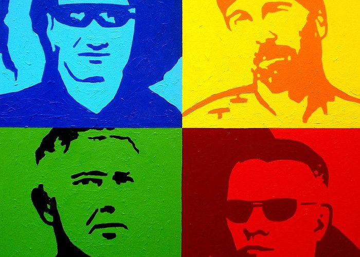 Acrylic Greeting Card featuring the painting U2 by John Nolan