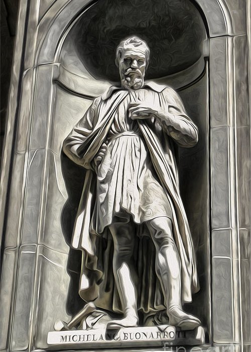 Classic Statue Greeting Card featuring the painting Uffizi Gallery - Michelangelo Buonarroti by Gregory Dyer