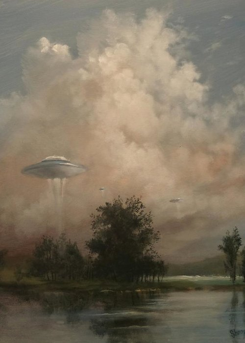 Ufo's Greeting Card featuring the painting Ufo's - A Scouting Party by Tom Shropshire