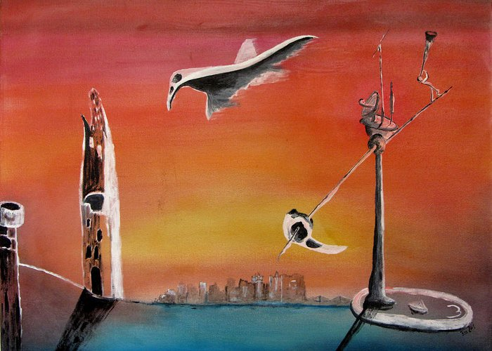 Uglydream Greeting Card featuring the painting Uglydream911 by Helmut Rottler