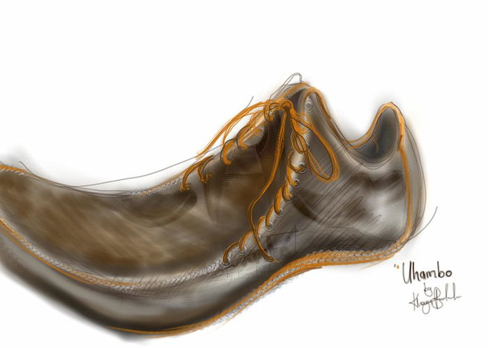 Shoe Greeting Card featuring the digital art Uhambo1 by Khaya Bukula