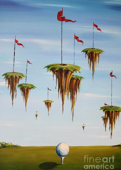 Surreal Greeting Card featuring the painting Ulitimate Course by Sandra Scheetz-Wise