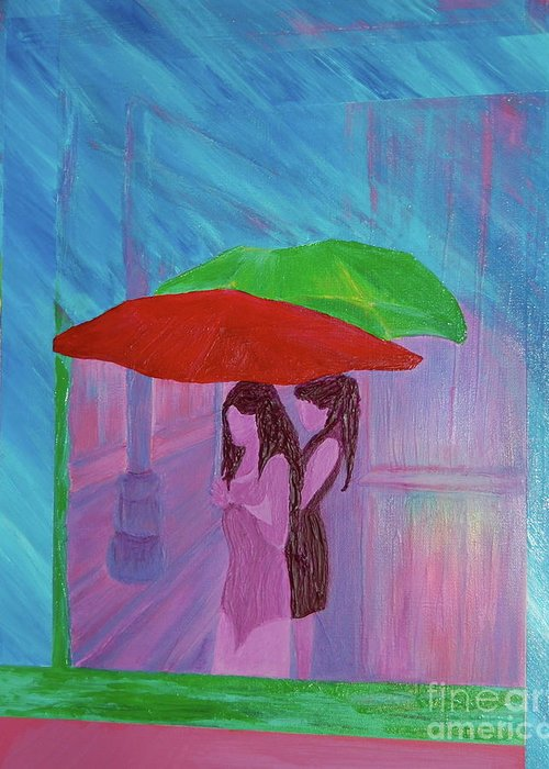 Umbrellas Greeting Card featuring the painting Umbrella Girls by First Star Art