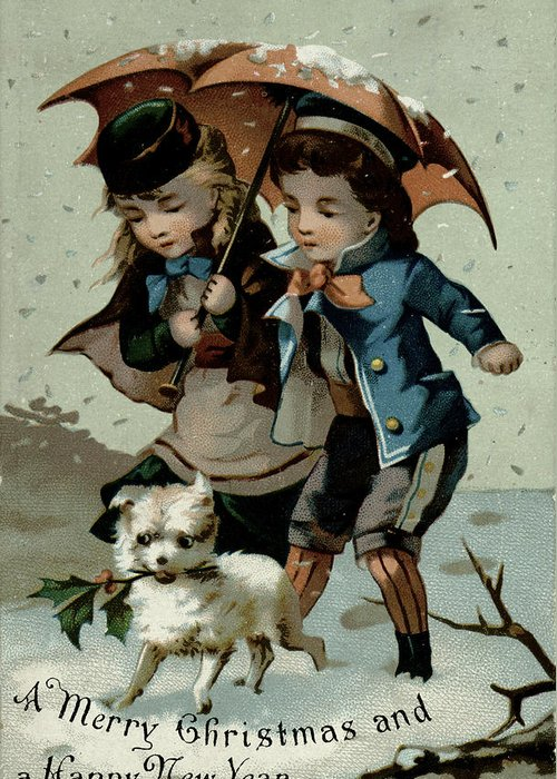 Christmas Greeting Card featuring the painting Umbrella In The Snow, Victorian Postcard by English School
