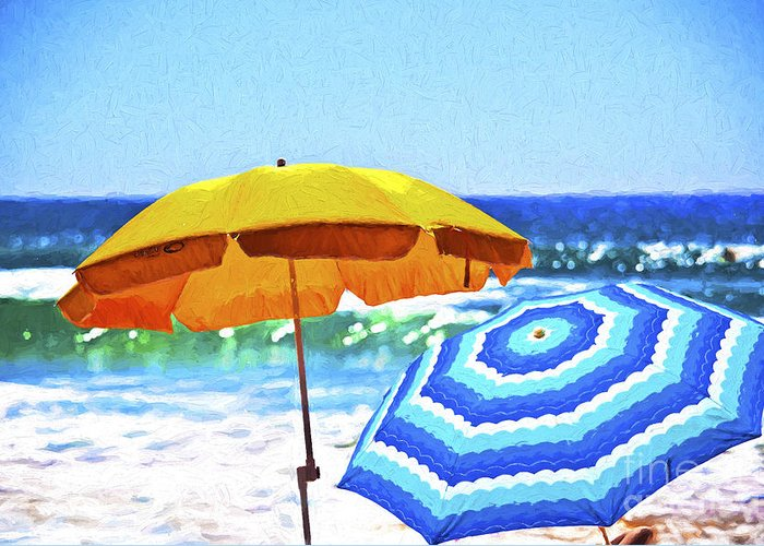 Umbrellas Greeting Card featuring the photograph Umbrellas at the beach by Sheila Smart Fine Art Photography