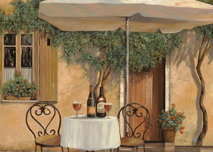 Chianti Greeting Card featuring the painting Un Altro Bicchiere Prima Di Pranzo by Guido Borelli
