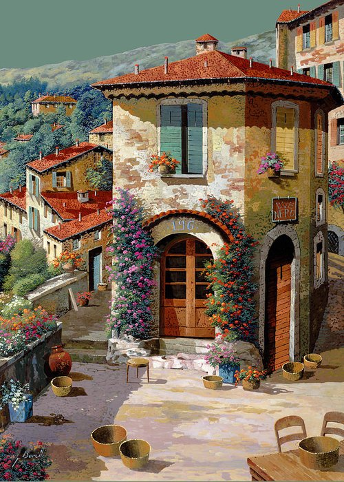 Light Green Sky Greeting Card featuring the painting Un Cielo Verdolino by Guido Borelli
