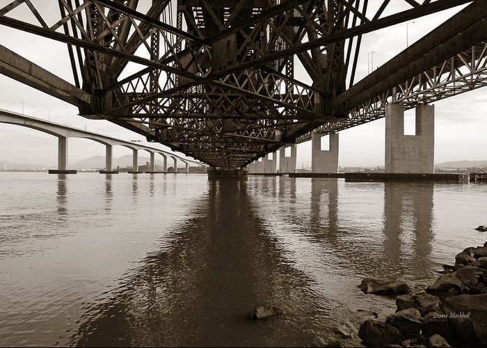 Bridges Greeting Card featuring the photograph Under Bridges by Donna Blackhall